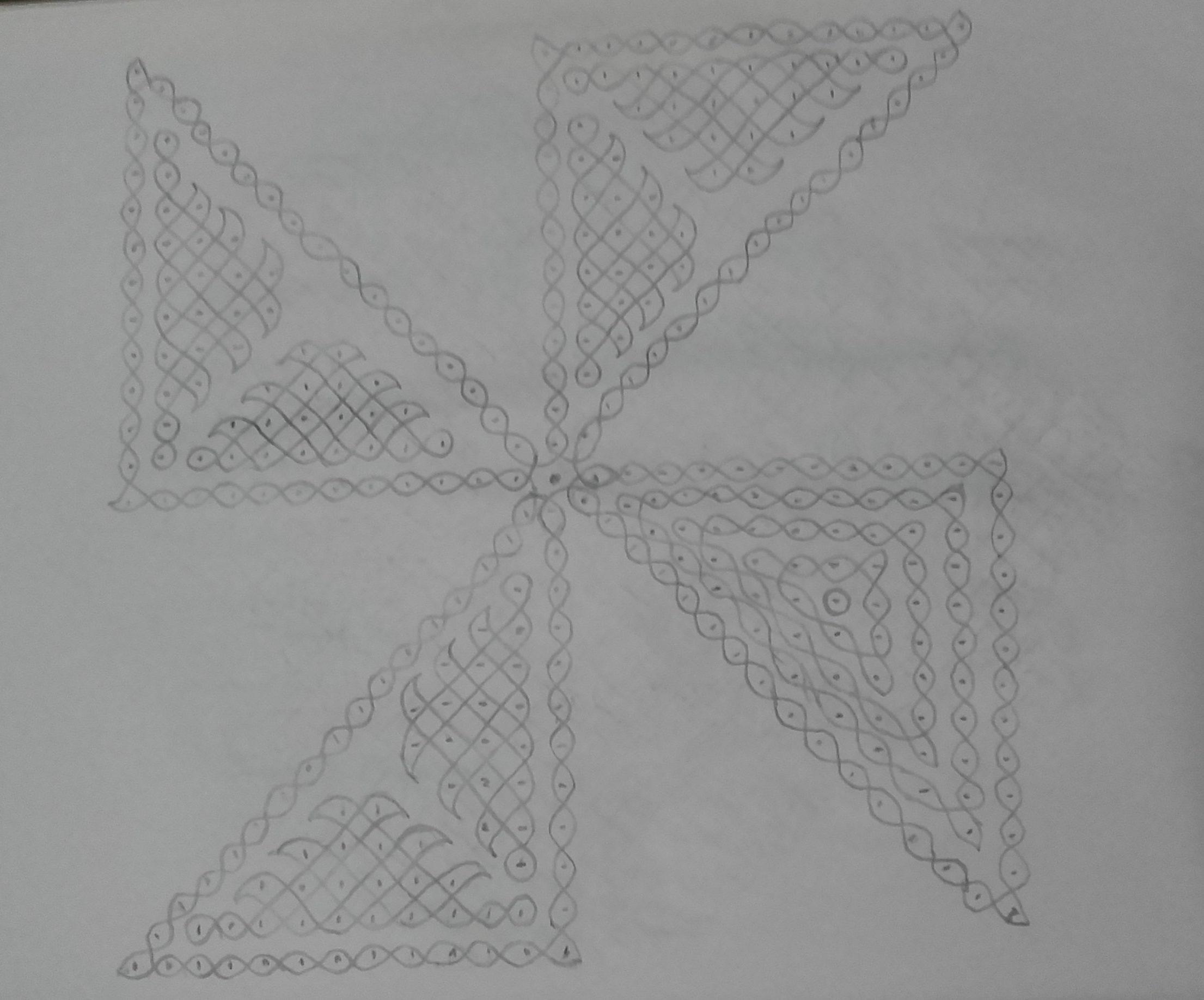 25 dots Pinwheel design Sikku Kolam for Contest