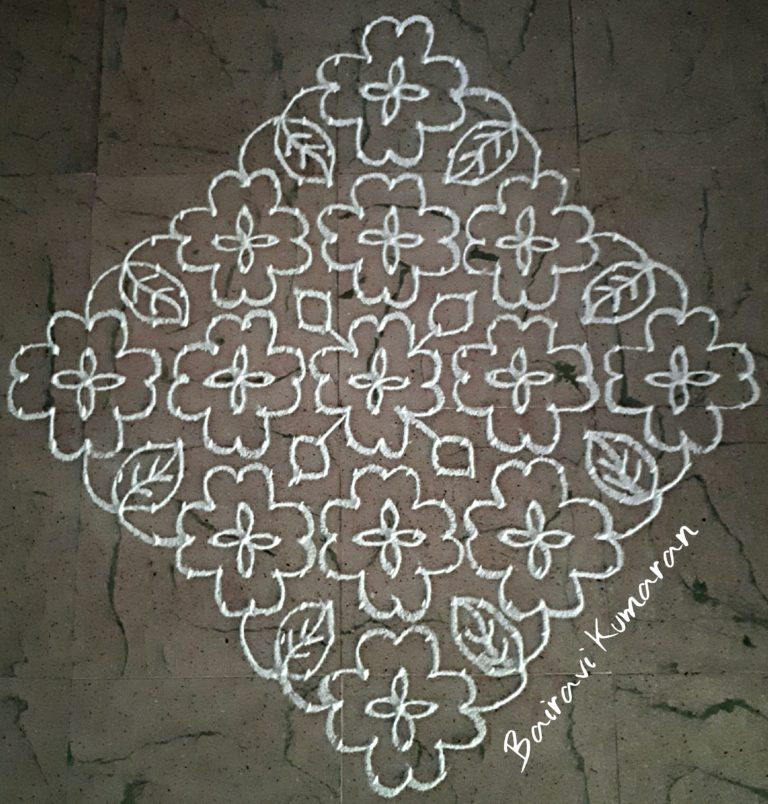 Pretty white flowers || 25 dots kolam for contest