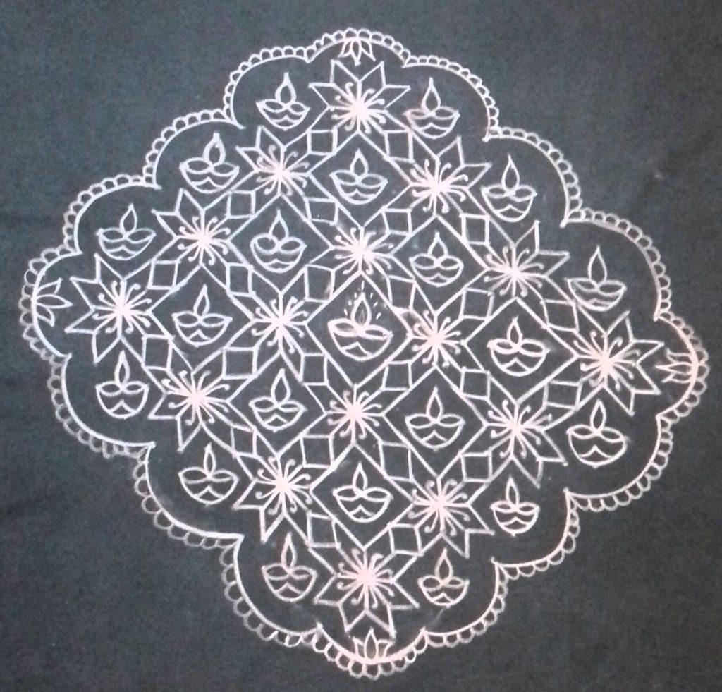 Flower and Diya Kolam || 25 dots contest Kolam