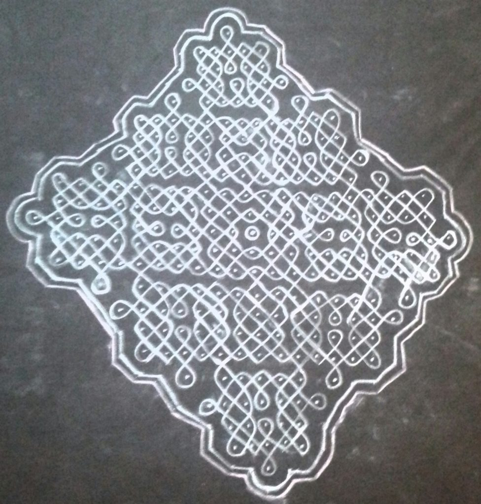 Sikku kolam with 25 dots for contest