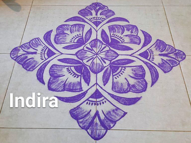 25 dots Purple Flowers Kolam || Contest kolam