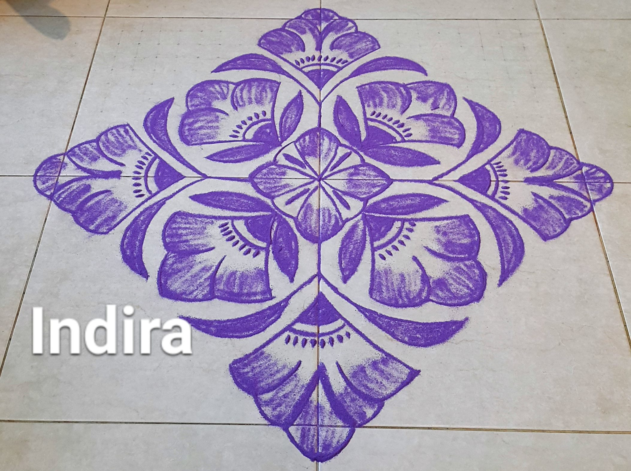 25 dots Purple Flowers Kolam || Contest kolam