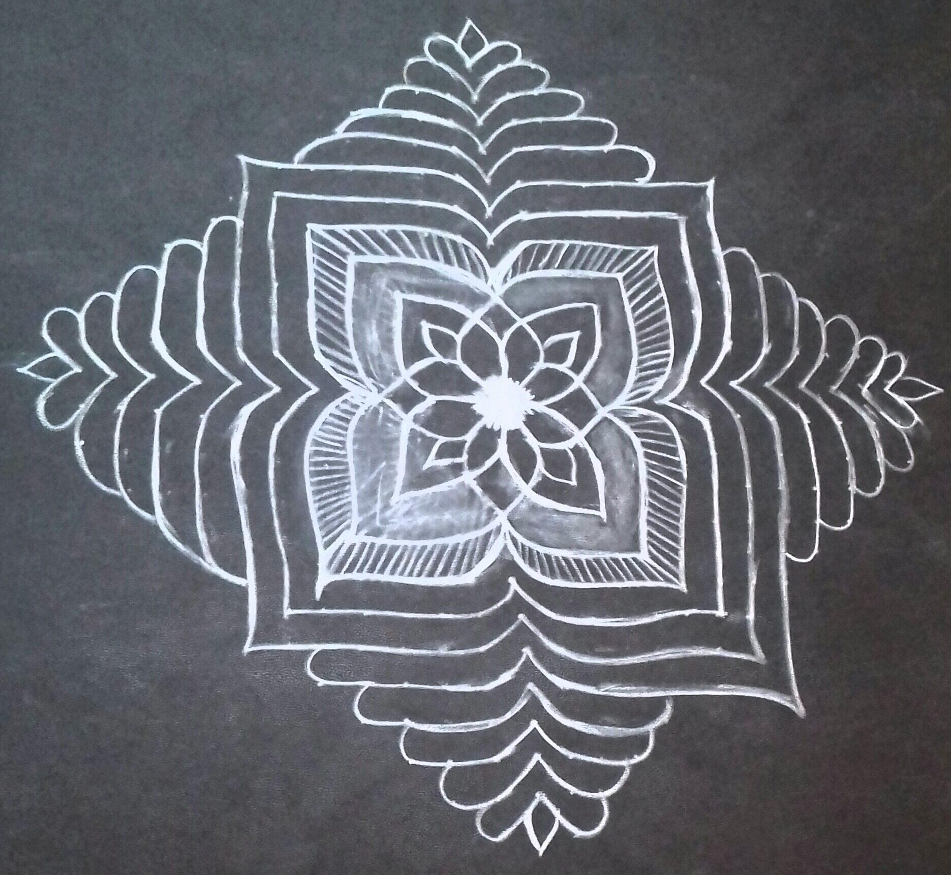 25 dots Line kolam || Flower kolam for contest