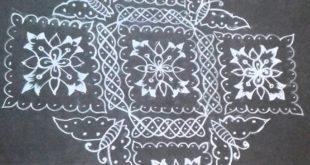 Butterfly, Flower Sikku Kolam || 25 dots Contest KolamButterfly, Flower Sikku Kolam || 25 dots Contest Kolam