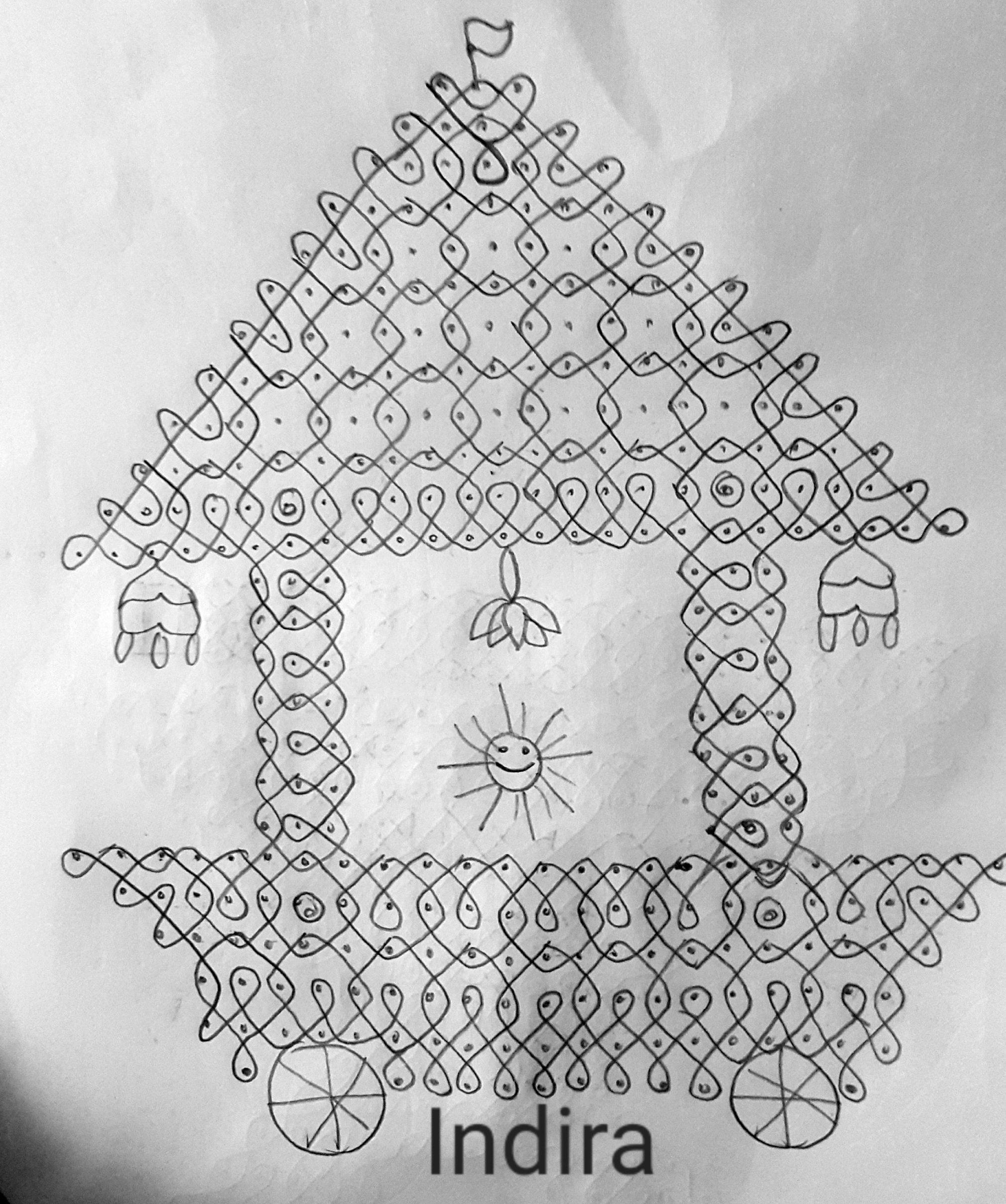 25 dots Ther Kolam || Ratha Muggulu || 25 dots contest kolam