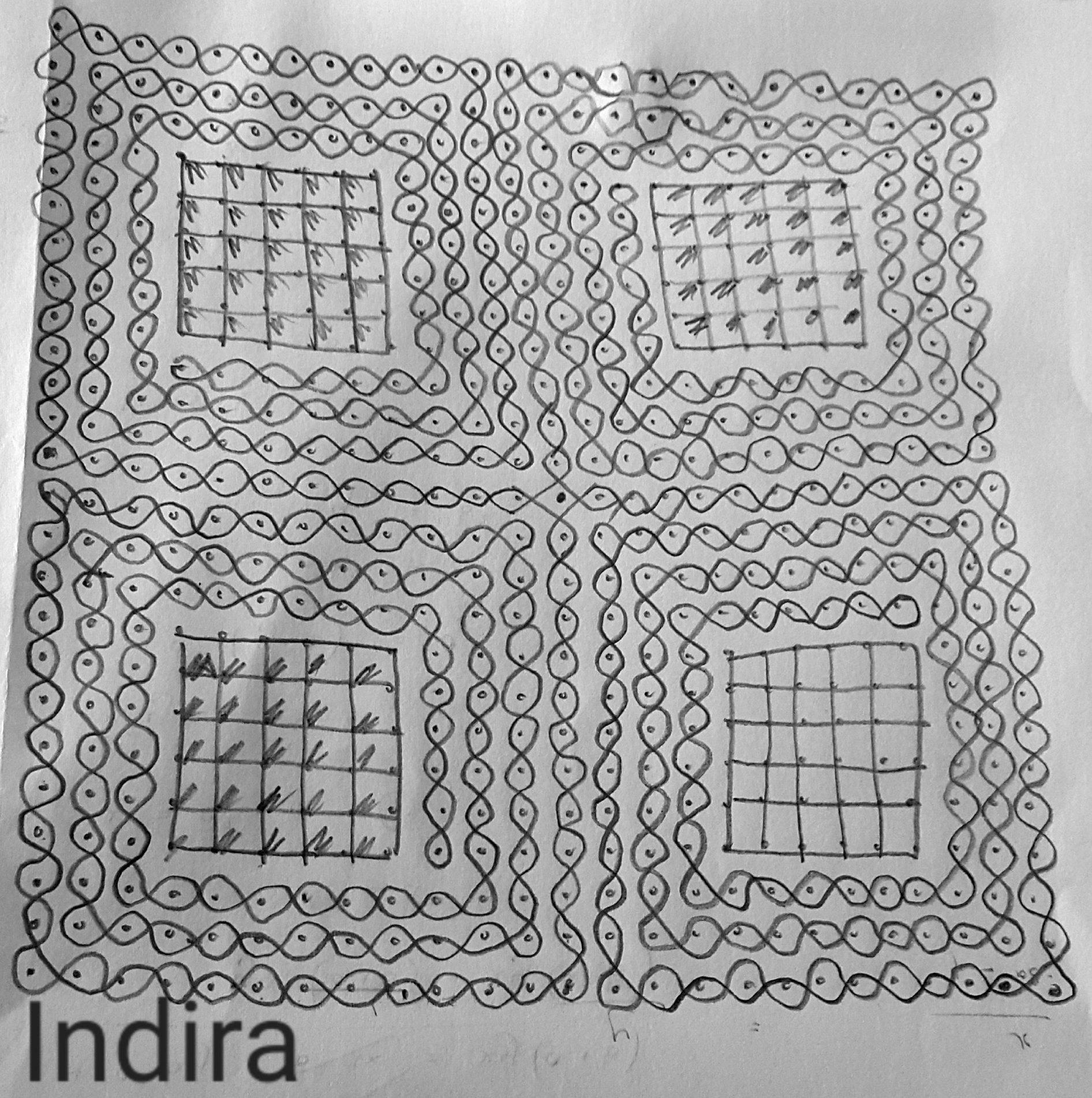 25 dots sikku kolam || 25x25 dots Square chikku kolam for contest