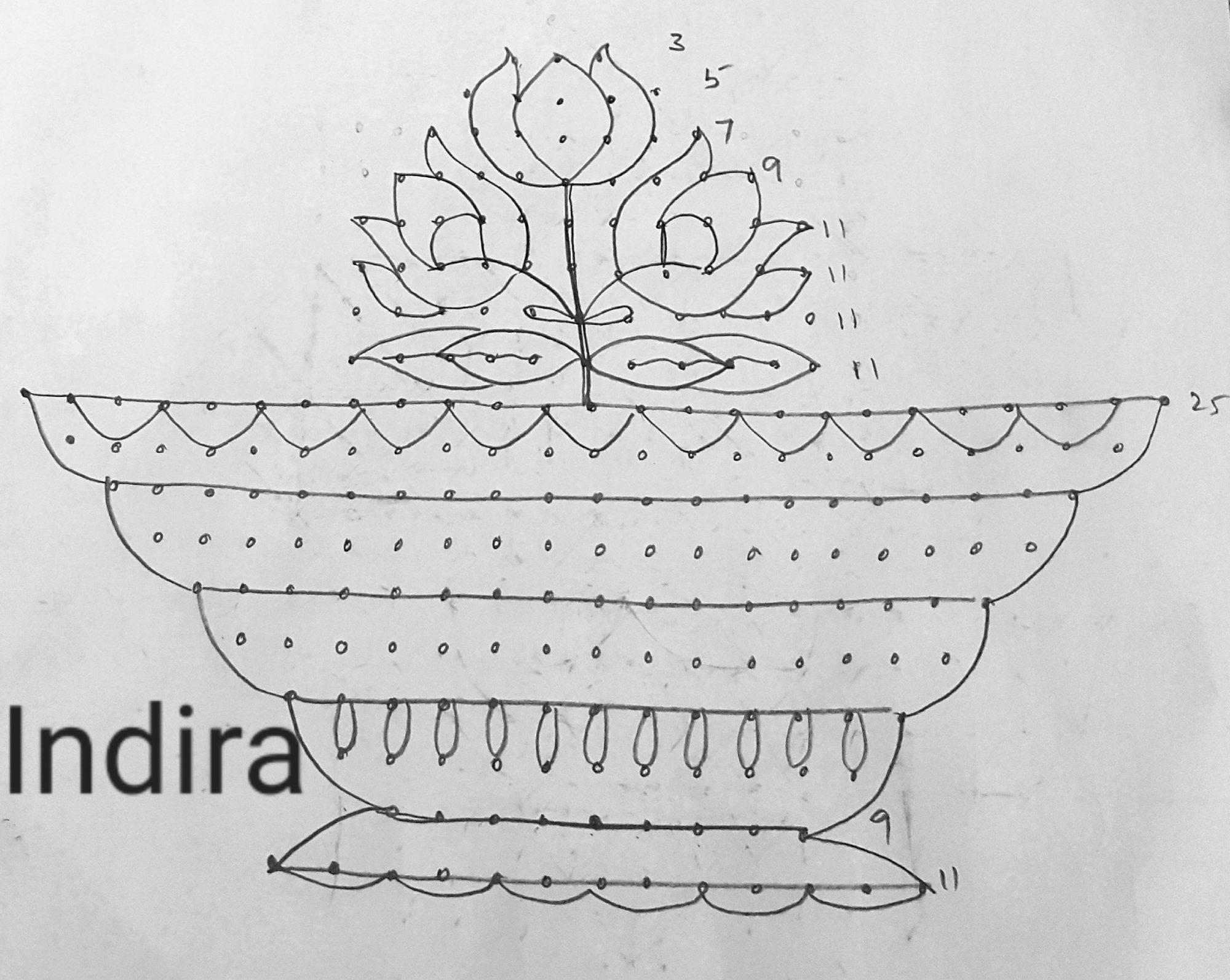 25 dots Flower vase kolam || Contest kolam