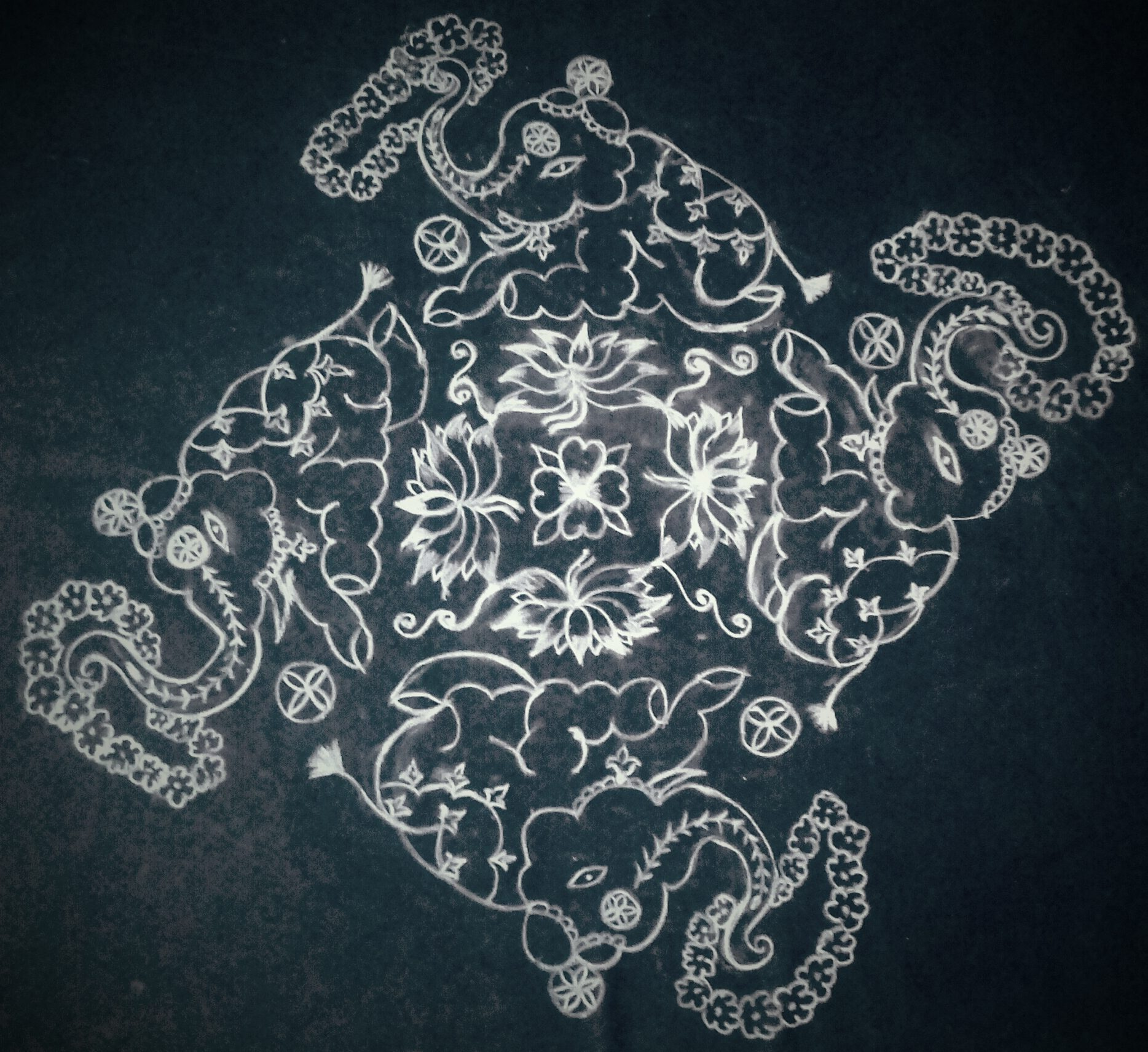 Beautiful Elephants kolam ||1 to 25 straight dots Contest kolam