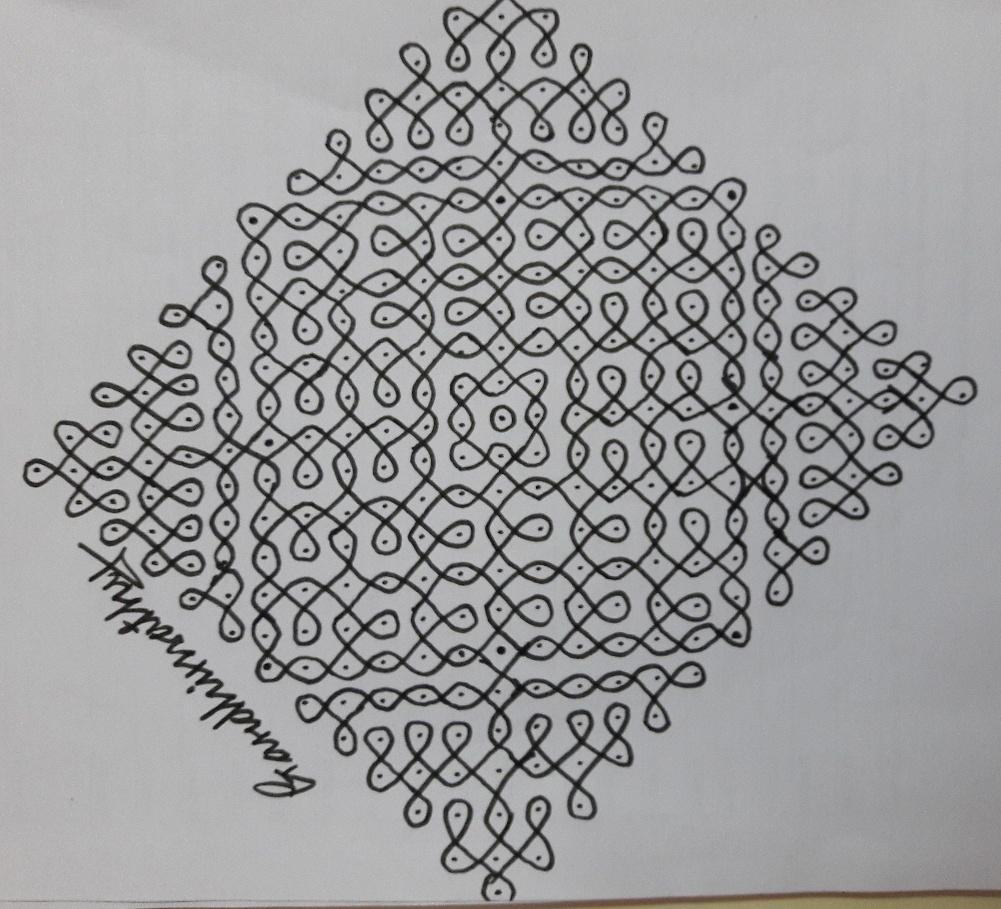 25 dots Sikku Kolam for Contest kolam 17