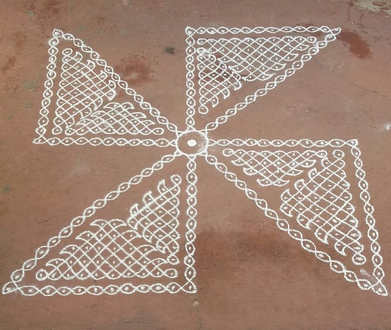 25 dots Pinwheel design Sikku Kolam for Contest
