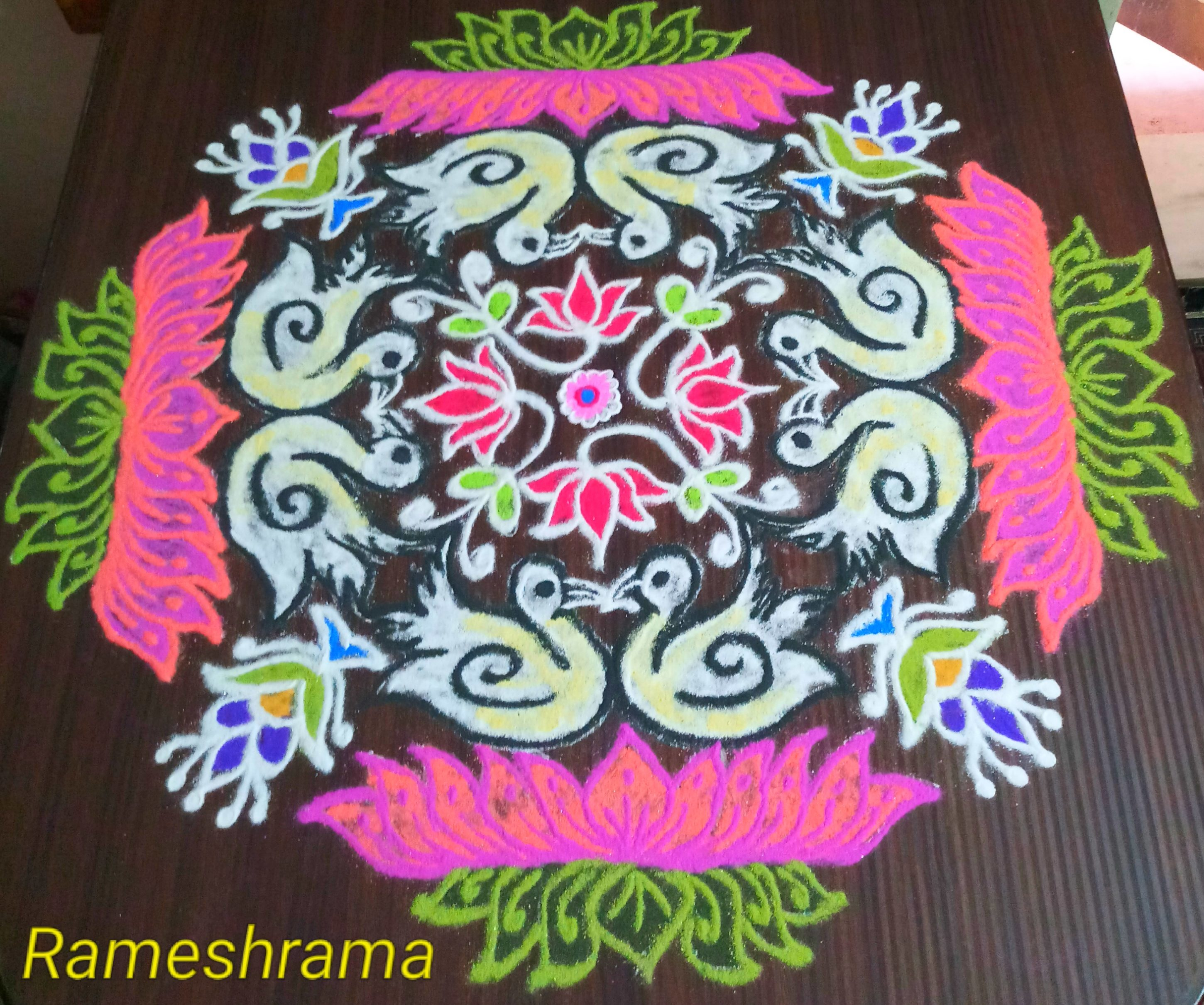 Lotus with swan || 25 dots Colour kolam for contest