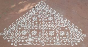 Flower,diya and butterfly kolam!!! Contest kolam No_11