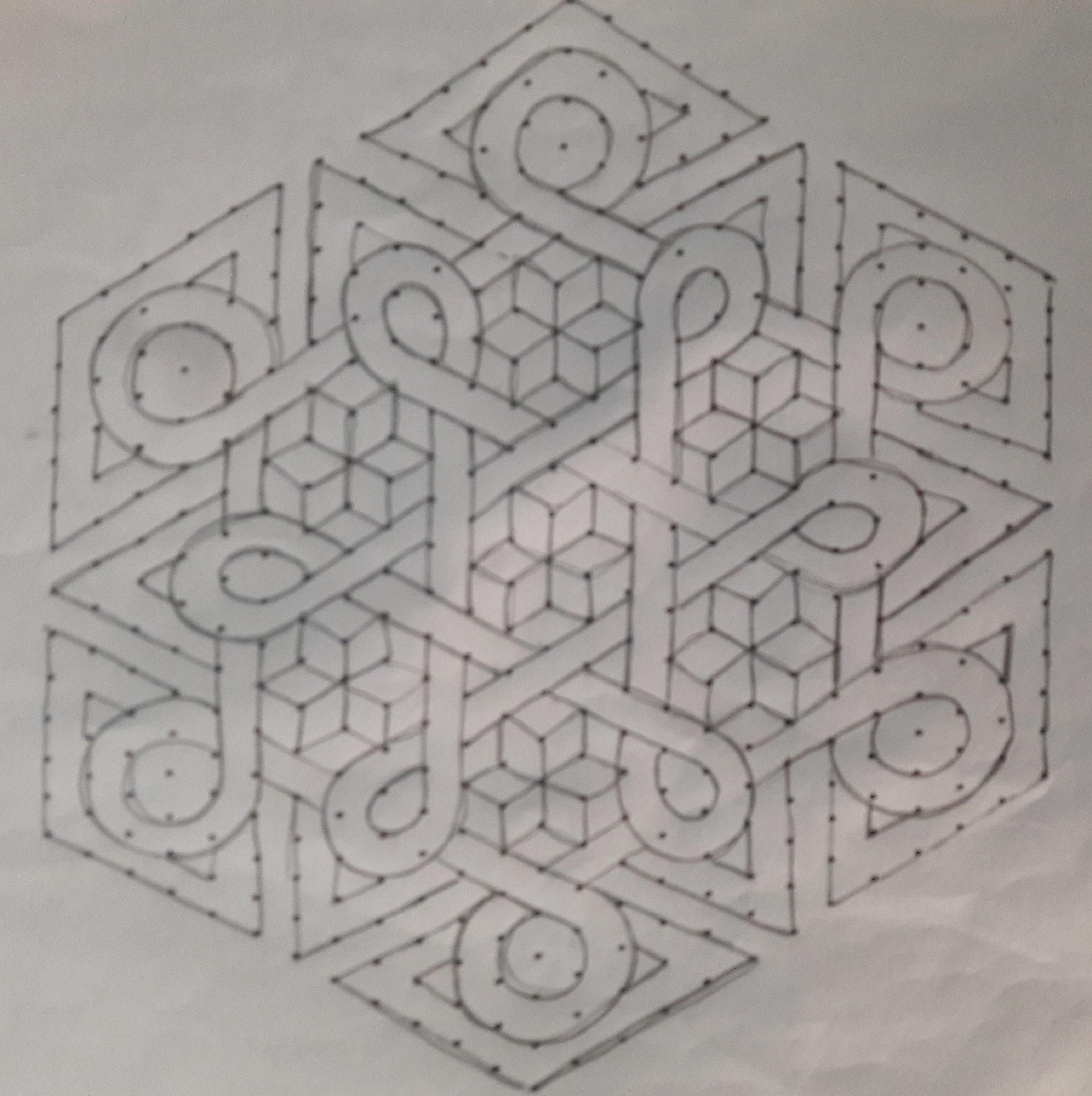 Celtic knot kolam    25 dots Flower kolam for contest