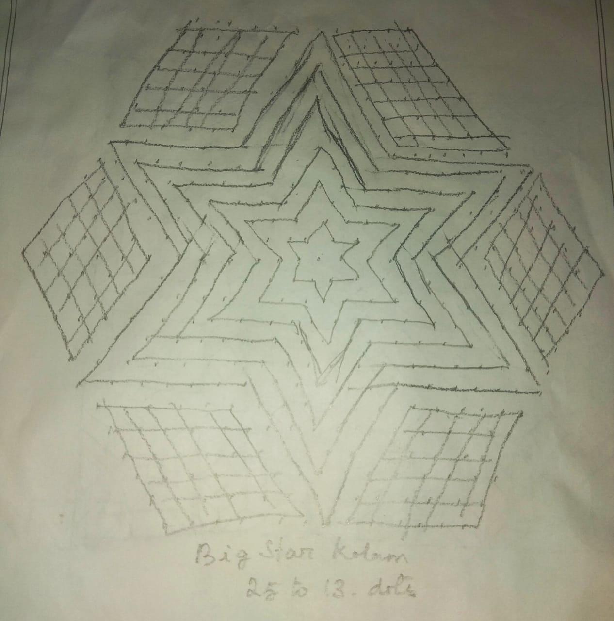 25 dots flower kolam || Star kolam for Contest