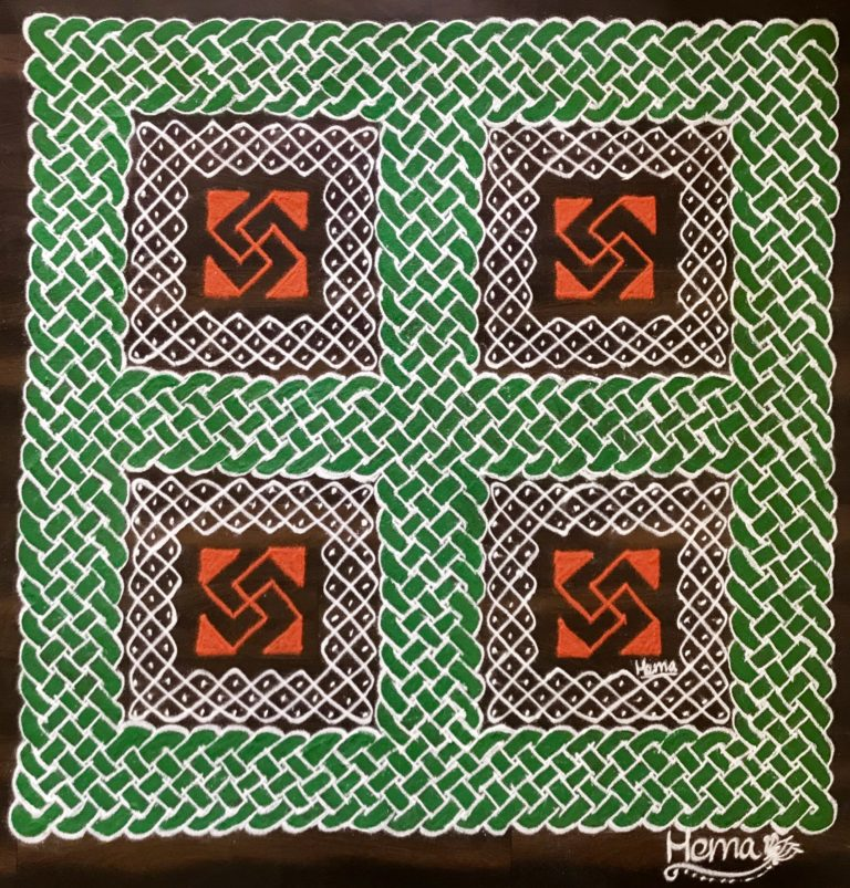 Knots, traditions, faith – India ! 25 dots square || Sikku kolam for Contest