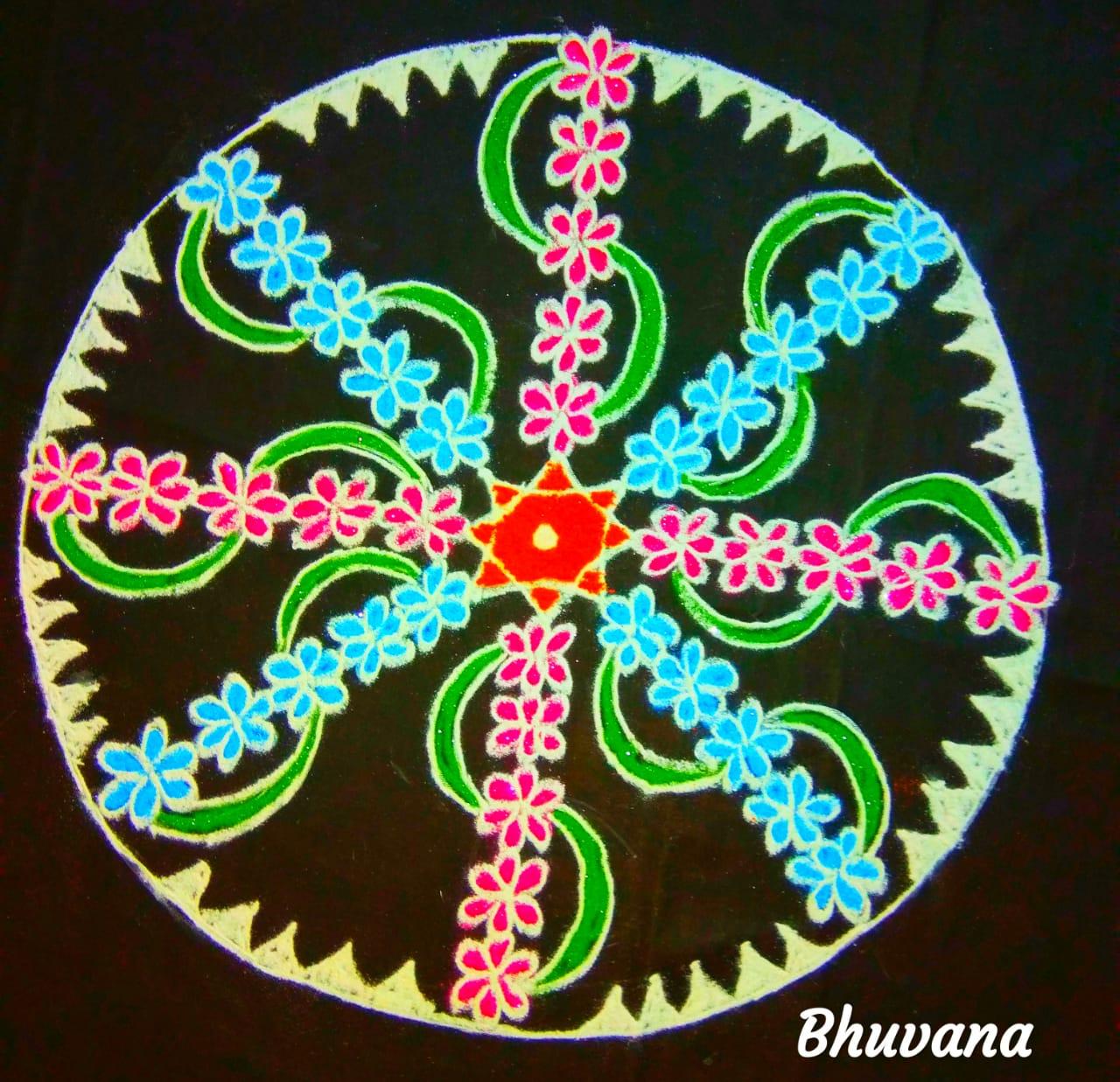 25 dots flower kolams || Big Flower Kolam for contest