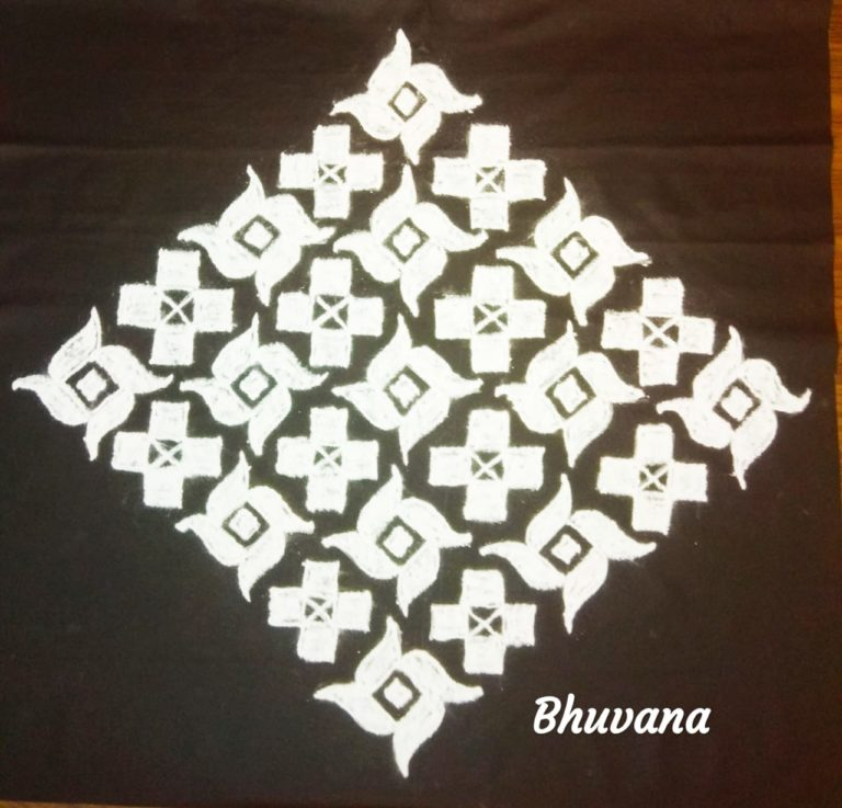 25 dots flower kolam || Pinwheel design for the contest