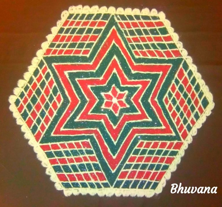 25 dots flower kolam || Star kolam for Contest