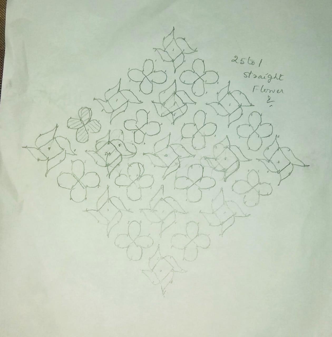 25 dots flower kolam || Pinwheel design for the contest