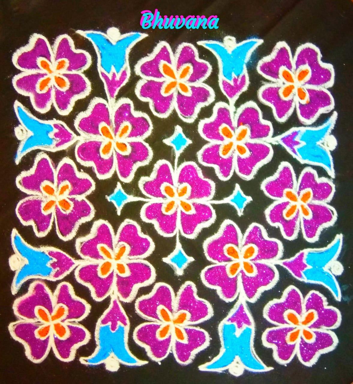25 dots flower kolams || 25x25 dots Flower kolam for Contest