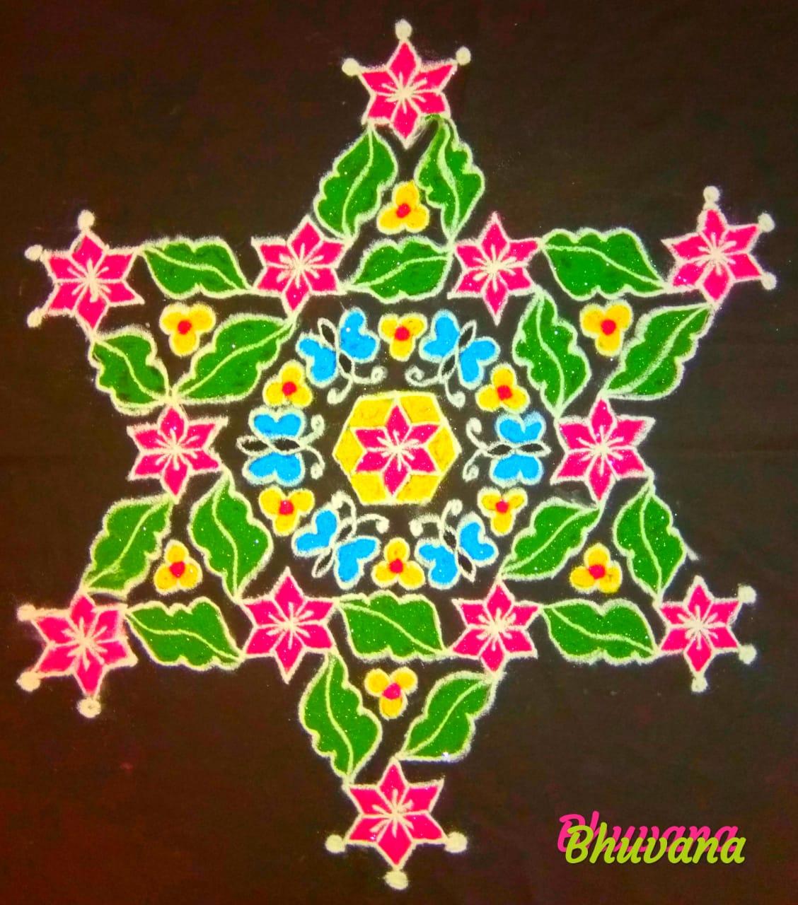 25 dots flower kolams contest || colour Kolam for contest