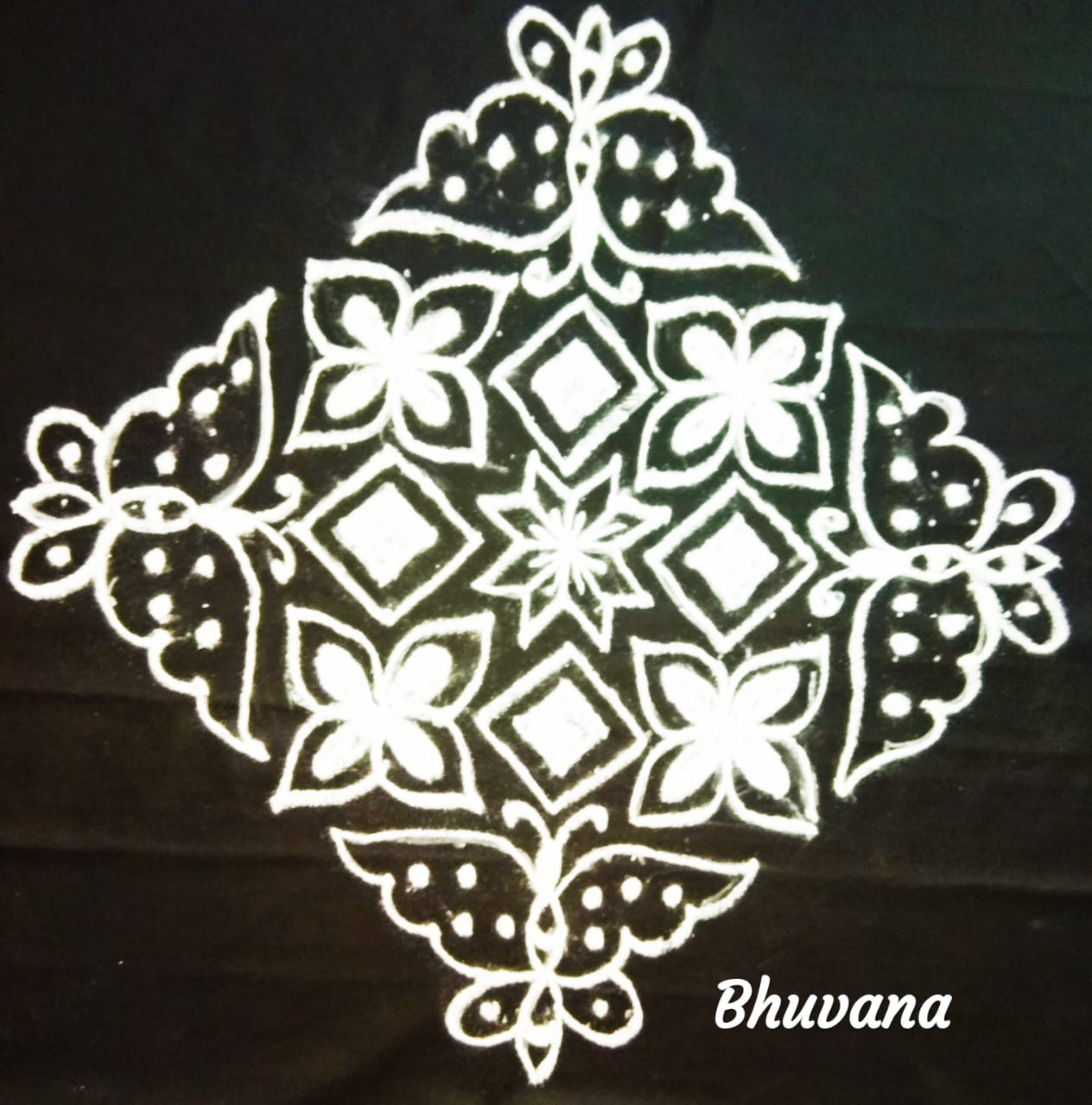 25 dots flower and butterfly kolam || contest kolam