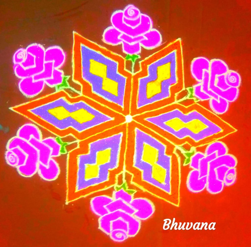 25 dots flower kolam || colour Kolam for Contest