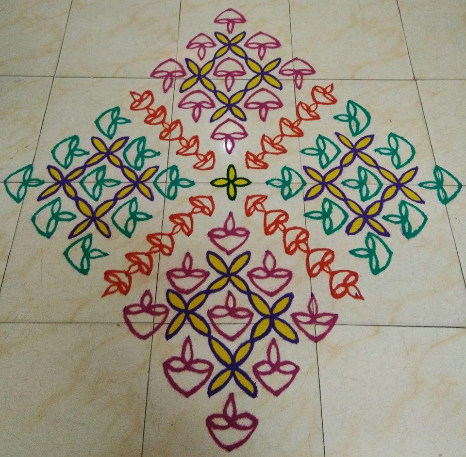 Uma - Deepam 2 kolam || 25 dots contest Kolam