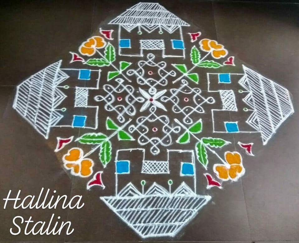 House 🏠 kolam with 25 - 3 straight dots ||Contest kolam no 10.