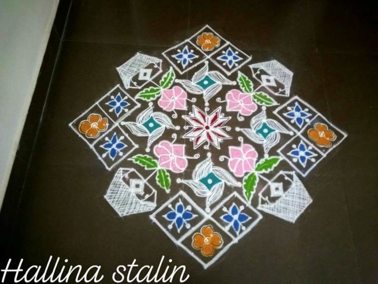 Contest kolam No_12. Flower pots,flower and design kolam with 25 dots