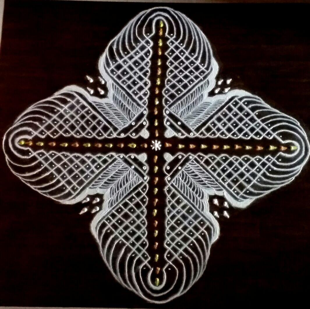 25 dots Chikku feather pattern || contest sikku kolam