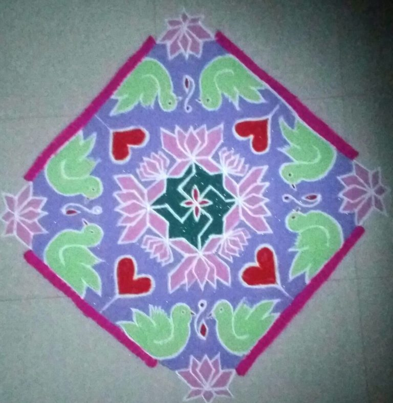25 dots beautiful birds with heart kolam || contest Kolam