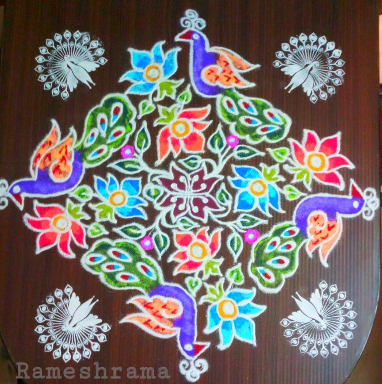 25 dots colourful Peacock kolam || Contest colour kolam