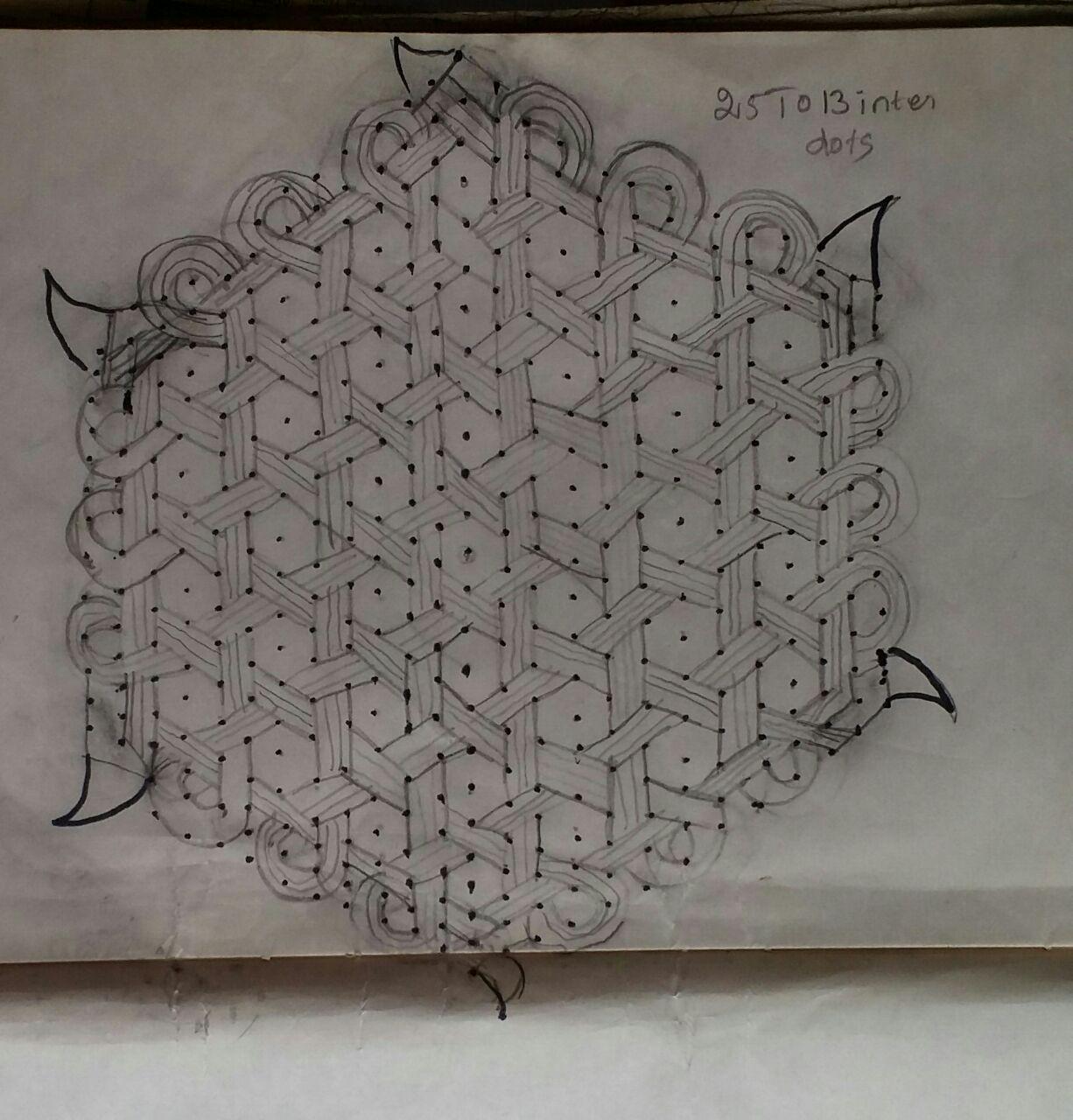 25 dots star as line pattern kolam || Contest Kolam
