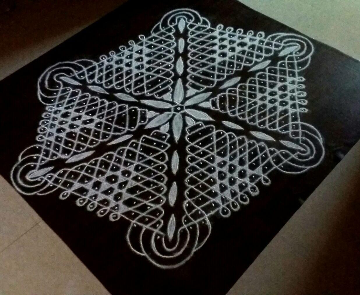 25 dots hexagonal chikku with center flower || Contest kolam