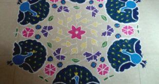 25 dots beautiful peacock kolam    contest kolam