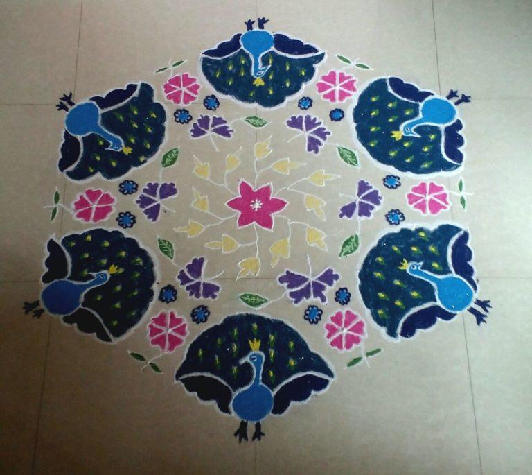 25 dots beautiful peacock kolam || contest kolam