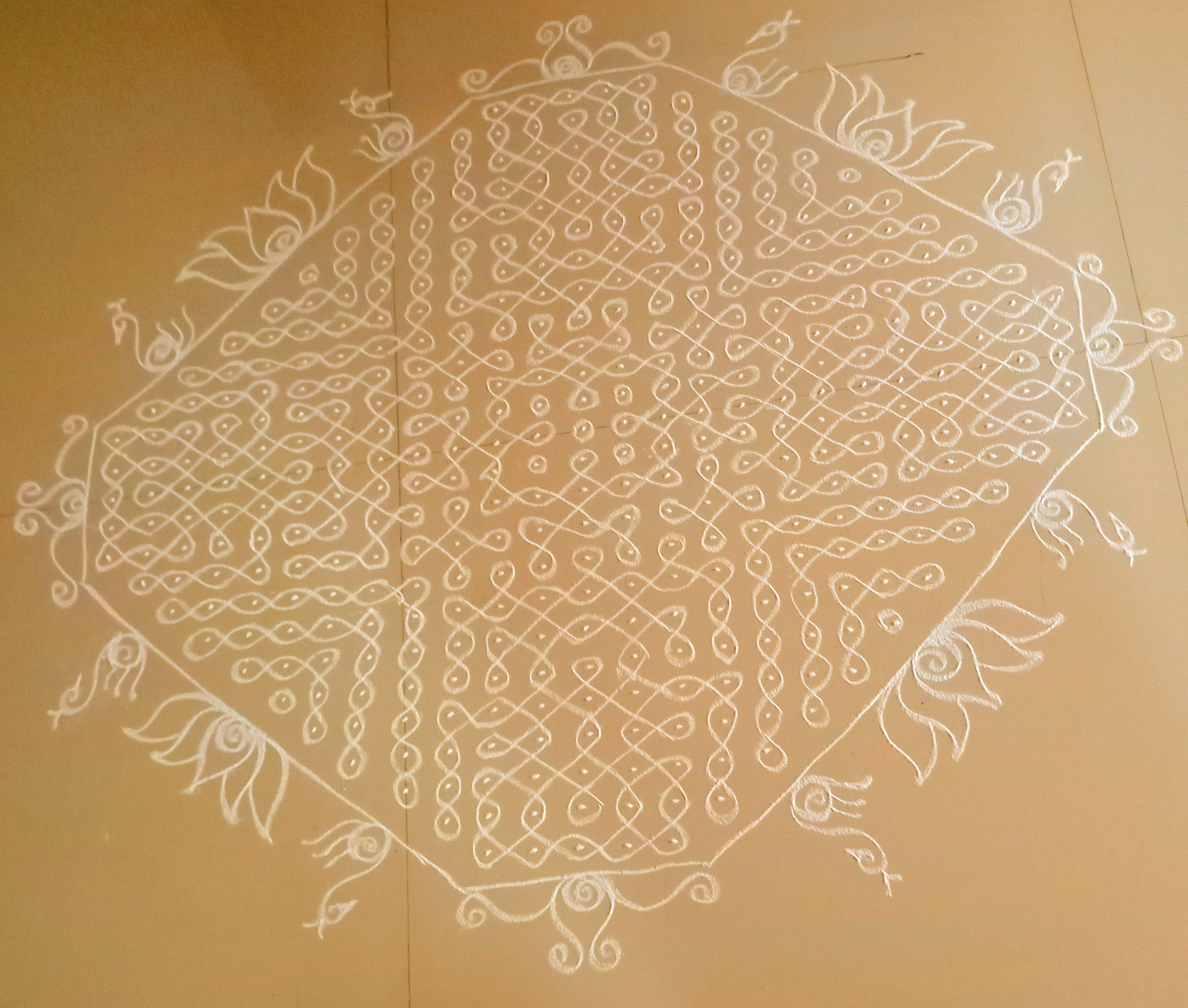 White Curls || 25 Dots Sikku kolam for contest