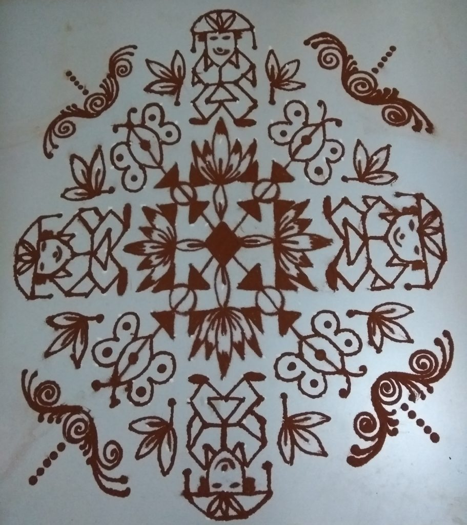 25 dots Flower and Butterfly kolam for contest
