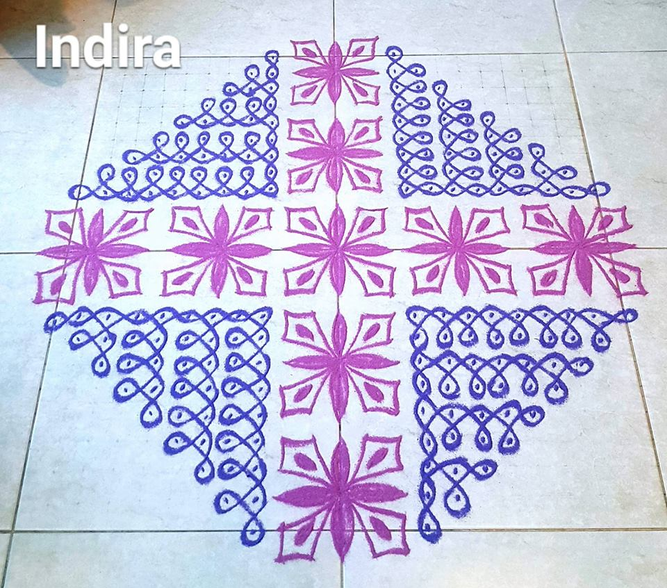25 Dots Flower and sikku kolam for contest