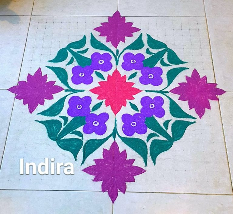 25 dots Tulip flower kolam || Contest flower kolam