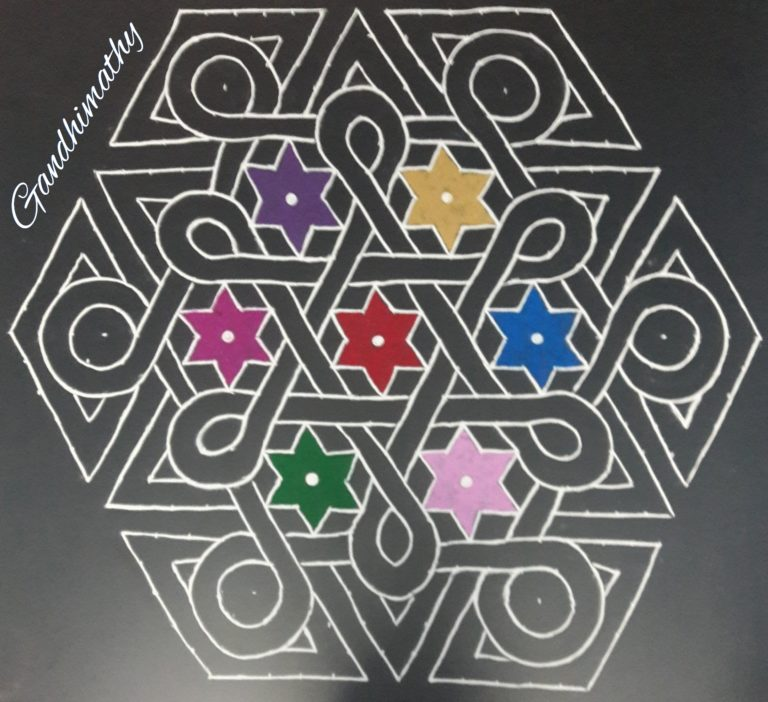 Celtic knot kolam || 25 dots Flower kolam for contest
