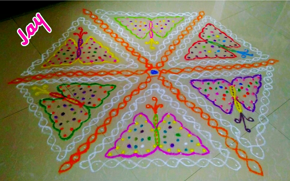 Butterflies caught in chikku || contest Kolam