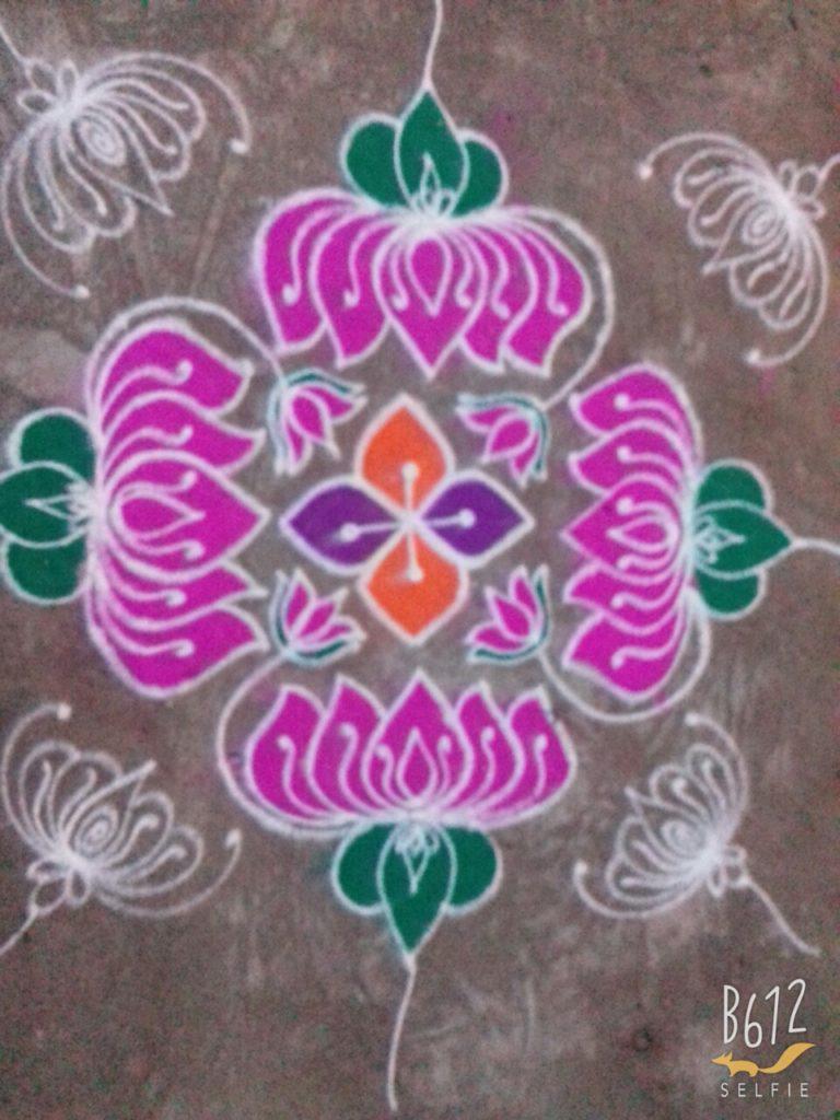 Thamarai kolam || 15 dots Lotus kolam