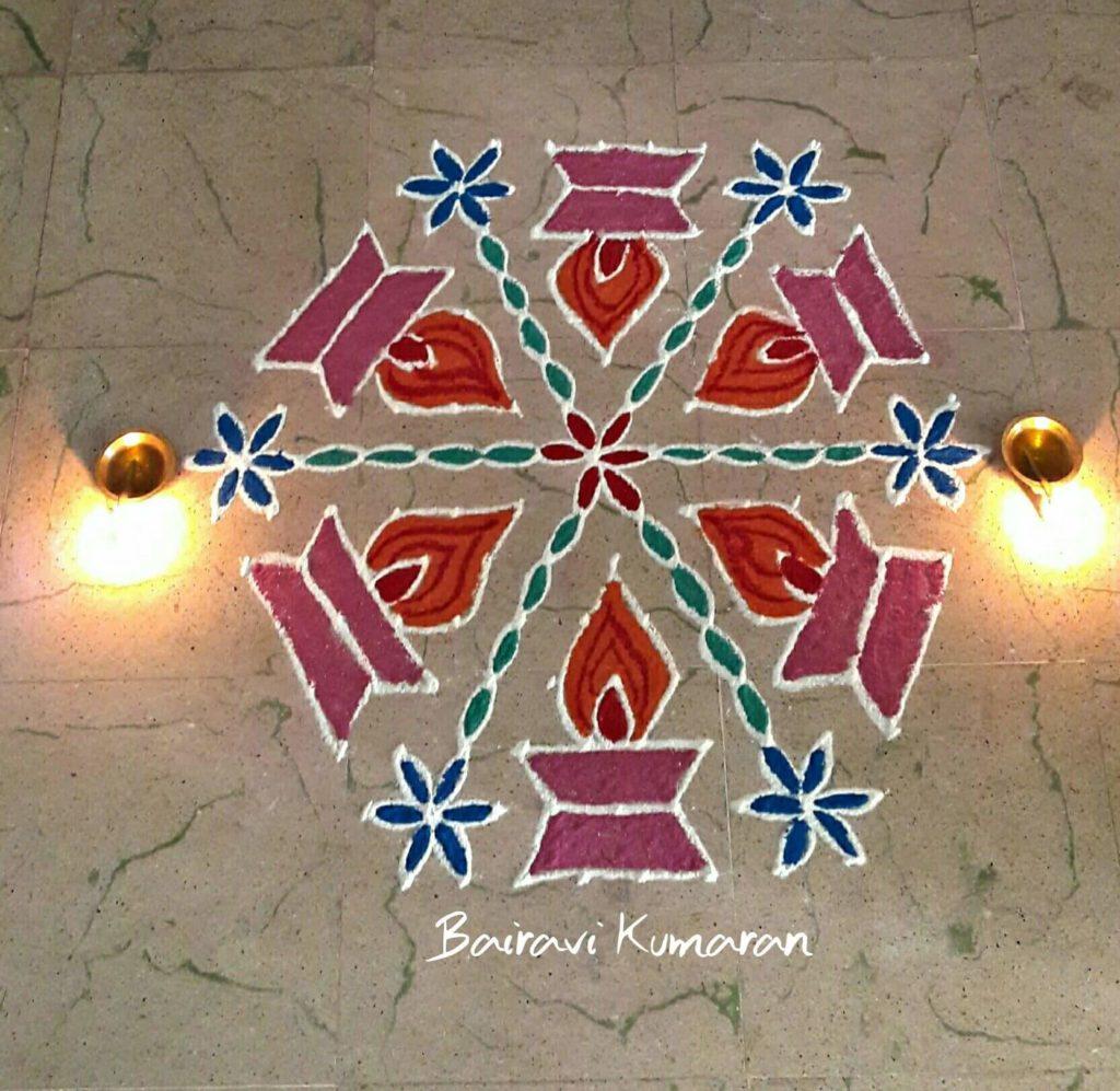 Deepam kolam    Diya rangoli with 15 dots