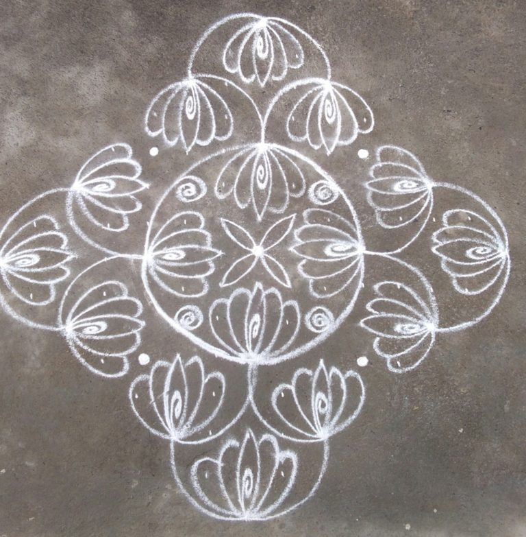 Thamarai kolam || Lotus Kolam with 15 dots