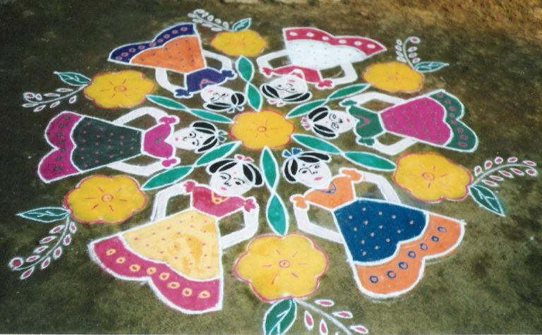 15 dots Dolls Kolam || pommalattam Kolam