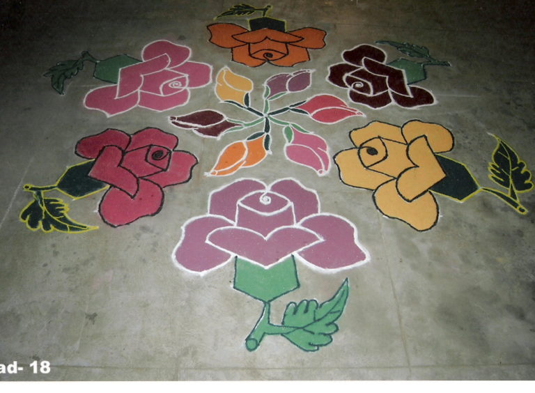 25 dots kolam with roses || rose kollam
