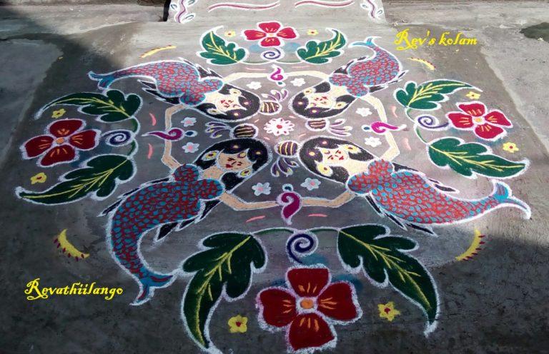 15 dots Flower and leaf kolam