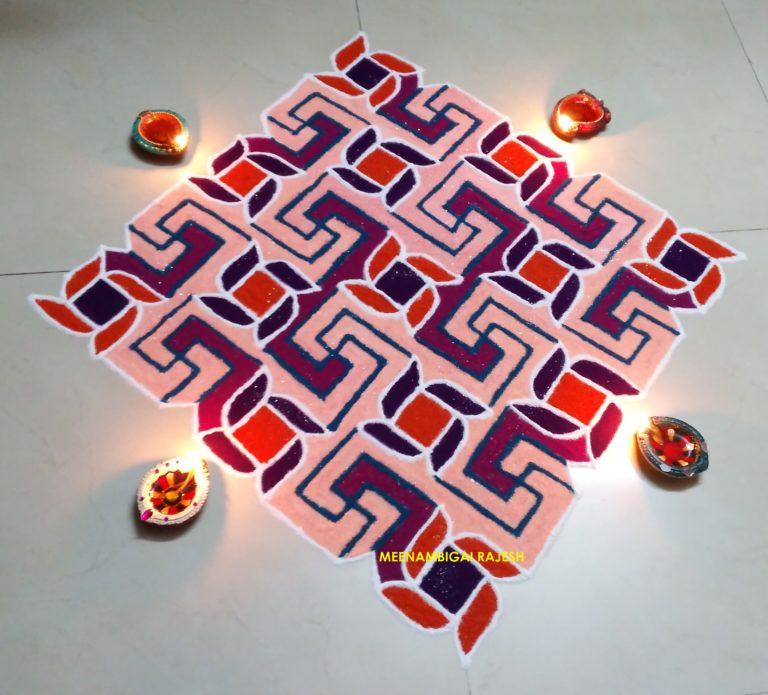 Swastik delight || 25 dots Swasthik Kolam in Colour
